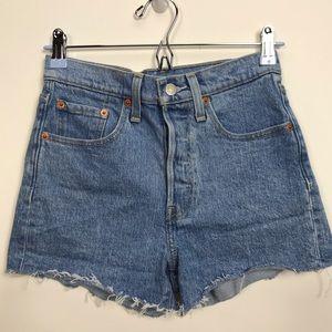 Levi's 501 Distressed High Rise Denim Jean Shorts